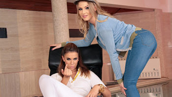 Ani Black Fox & Lucy Heart in White Jeans And Large Ass