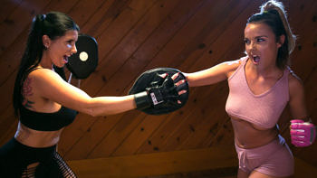 Dillion Harper & Romi Rain in Lesbian Workout Stories: Going Hard