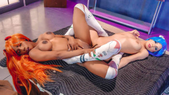 Milana May & Sarah Banks in Evangelion Cosplay: A DP XXX Parody
