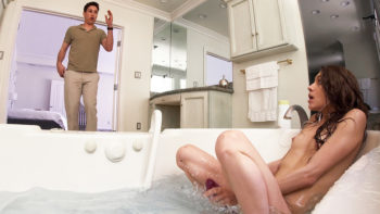Rebel Lynn in Stepsister Gives Stepbro Bathtub BJ